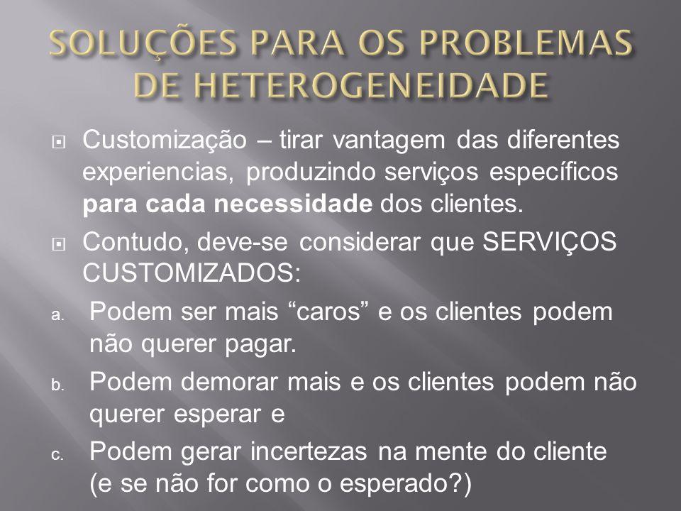 Customização – tirar vantagem das diferentes experiencias, produzindo serviços específicos para cada necessidade dos clientes.