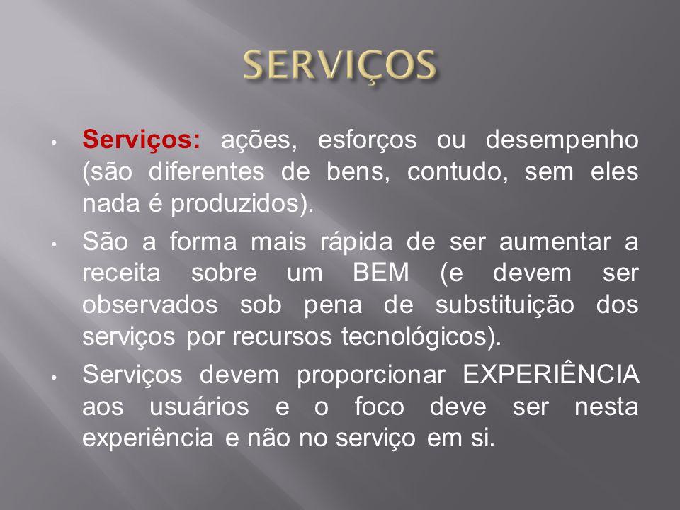 Serviços: ações, esforços ou desempenho (são diferentes de bens, contudo, sem eles nada é produzidos).