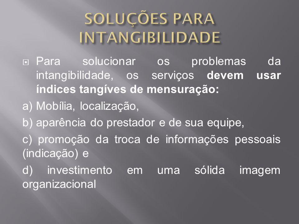 Para solucionar os problemas da intangibilidade, os serviços devem usar índices tangíves de mensuração: a) Mobília, localização, b) aparência do prestador e de sua equipe, c) promoção da troca de informações pessoais (indicação) e d) investimento em uma sólida imagem organizacional