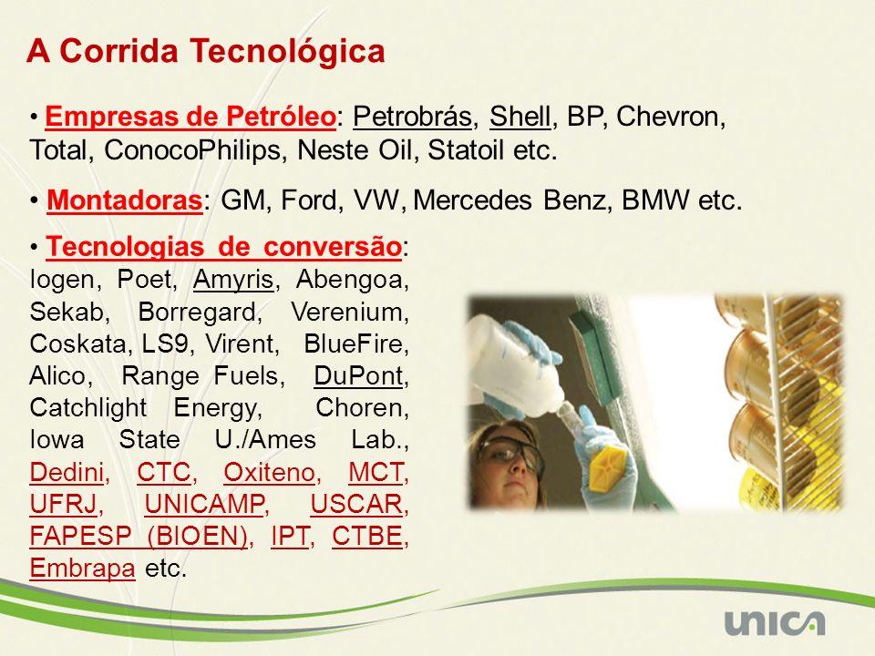 A Corrida Tecnológica Empresas de Petróleo: Petrobrás, Shell, BP, Chevron, Total, ConocoPhilips, Neste Oil, Statoil etc. Montadoras: GM, Ford, VW, Mer