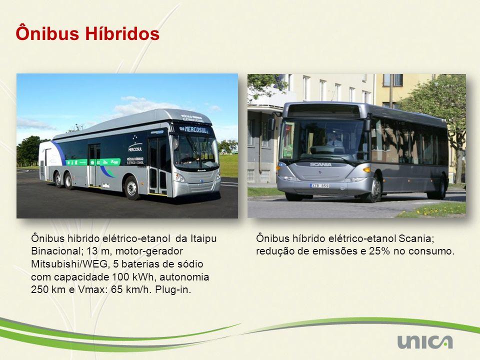 Ônibus hibrido elétrico-etanol da Itaipu Binacional; 13 m, motor-gerador Mitsubishi/WEG, 5 baterias de sódio com capacidade 100 kWh, autonomia 250 km e Vmax: 65 km/h.