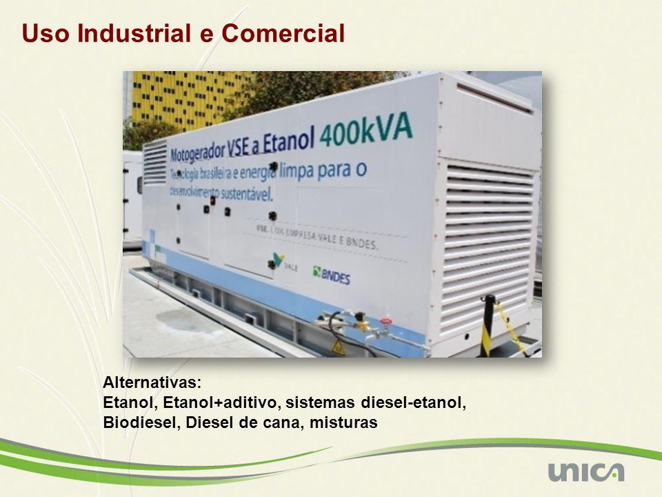 Uso Industrial e Comercial Alternativas: Etanol, Etanol+aditivo, sistemas diesel-etanol, Biodiesel, Diesel de cana, misturas