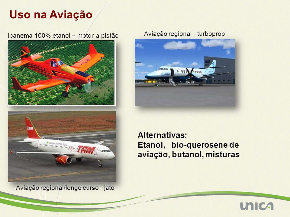 Uso na Aviação Ipanema 100% etanol – motor a pistão Alternativas: Etanol, bio-querosene de aviação, butanol, misturas Aviação regional - turboprop Aviação regional/longo curso - jato
