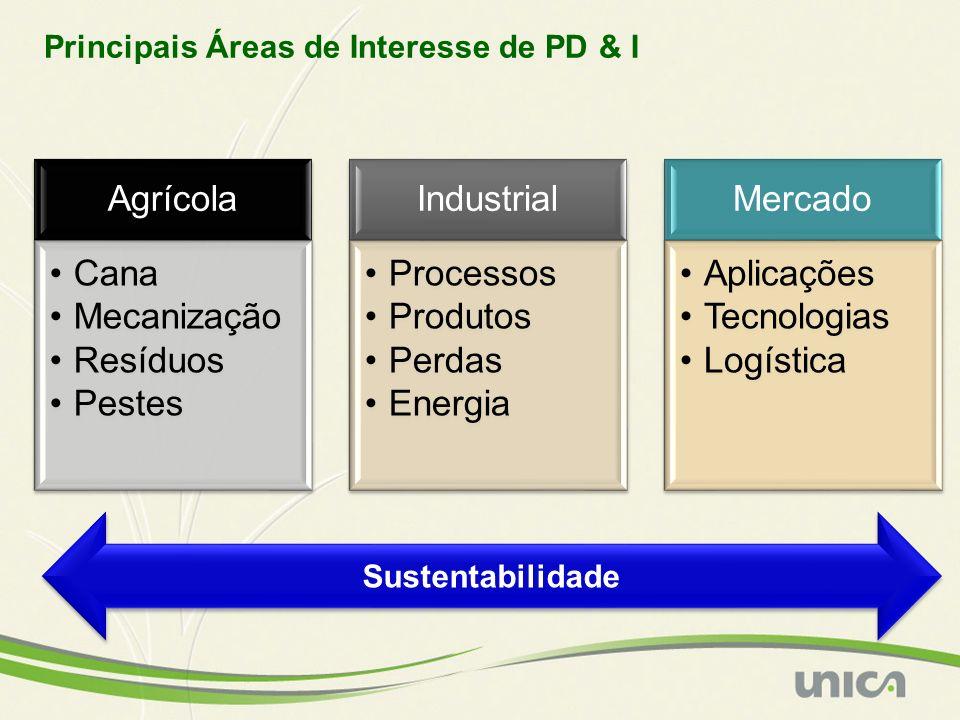 Principais Áreas de Interesse de PD & I Agrícola Cana Mecanização Resíduos Pestes Industrial Processos Produtos Perdas Energia Mercado Aplicações Tecnologias Logística Sustentabilidade