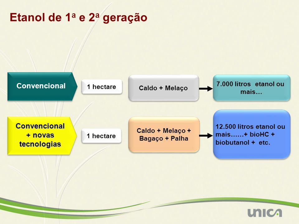 Convencional Convencional + novas tecnologias 1 hectare Caldo + Melaço Caldo + Melaço + Bagaço + Palha Caldo + Melaço + Bagaço + Palha 7.000 litros et
