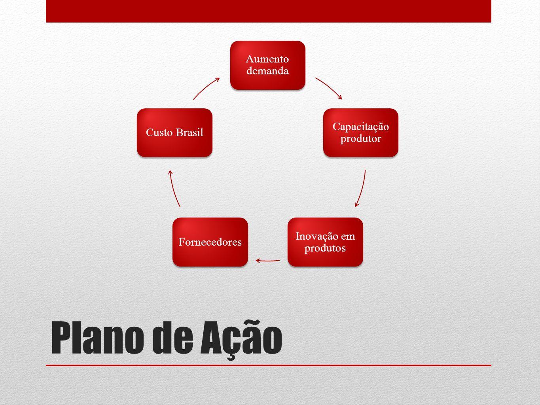 Plano de Ação Aumento demanda Capacitação produtor Inovação em produtos FornecedoresCusto Brasil