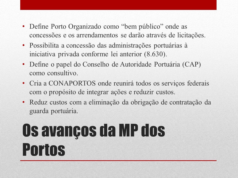 Os avanços da MP dos Portos Define Porto Organizado como bem público onde as concessões e os arrendamentos se darão através de licitações. Possibilita