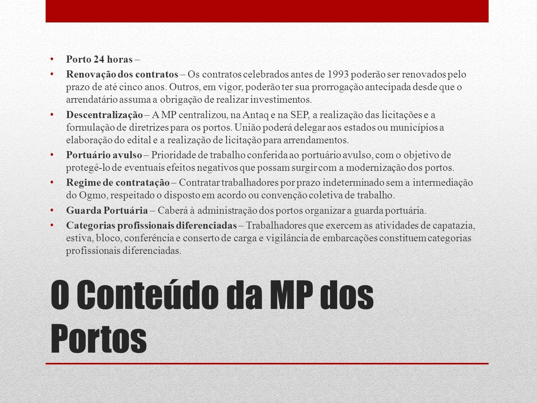 O Conteúdo da MP dos Portos Porto 24 horas – Renovação dos contratos – Os contratos celebrados antes de 1993 poderão ser renovados pelo prazo de até c