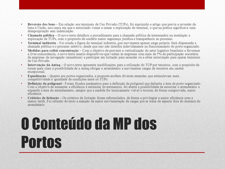 O Conteúdo da MP dos Portos Reversão dos bens – Em relação aos terminais de Uso Privado (TUPs), foi suprimido o artigo que previa a reversão de bens à