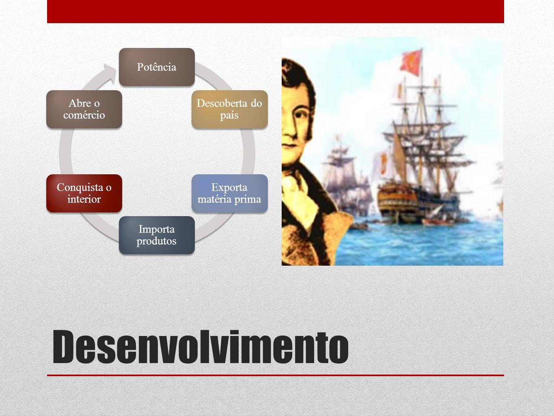 Desenvolvimento Potência Descoberta do país Exporta matéria prima Importa produtos Conquista o interior Abre o comércio