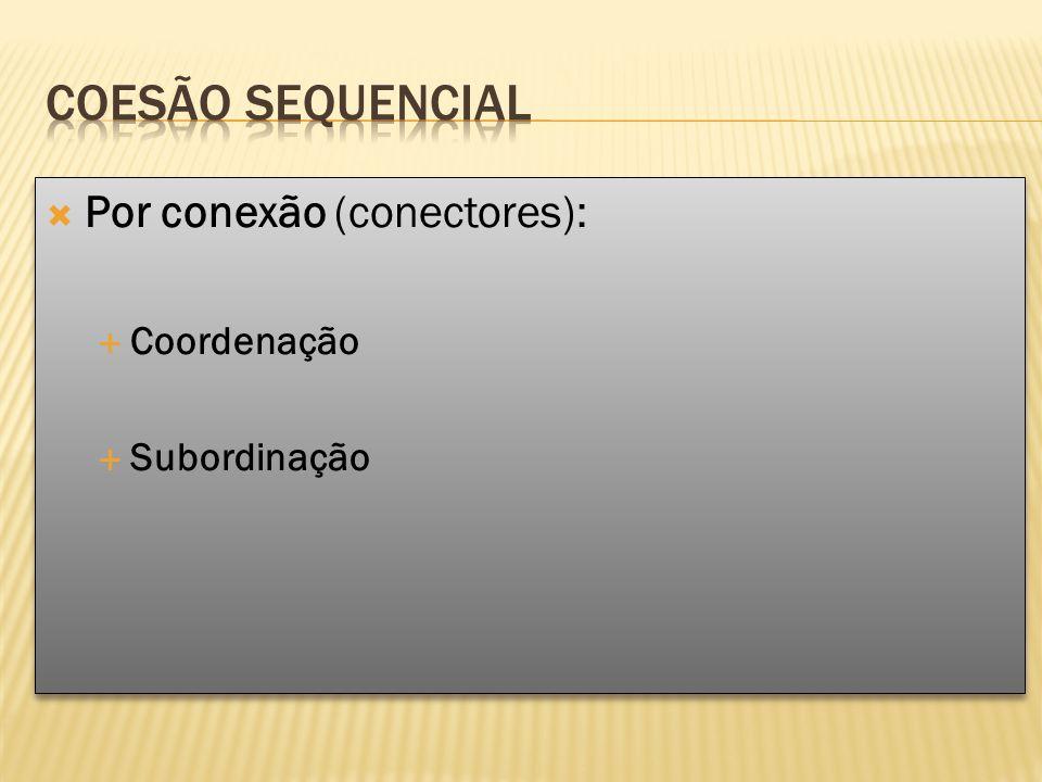 Por conexão (conectores): Coordenação Subordinação Por conexão (conectores): Coordenação Subordinação