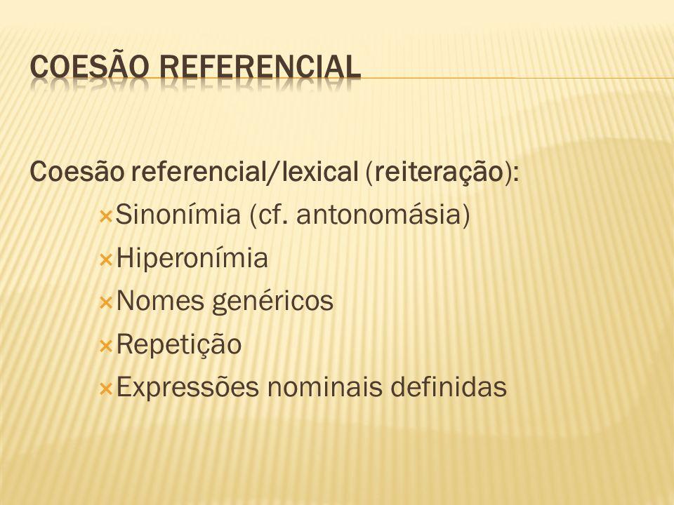 Coesão referencial/lexical (reiteração): Sinonímia (cf.