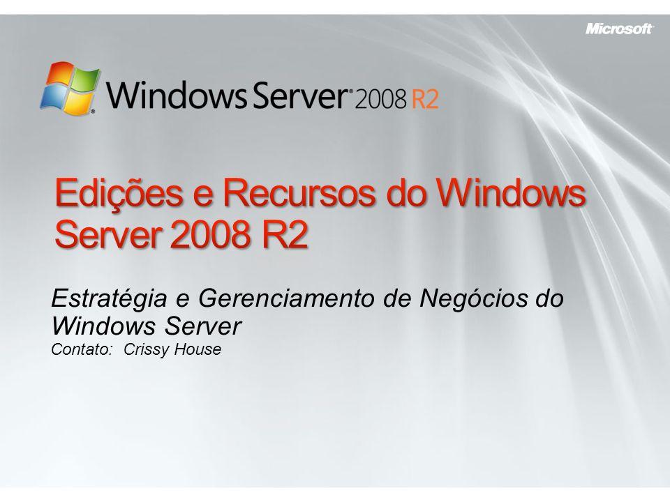 Resumos sobre o Windows Server 2008 R2 Edition Recursos Novos e Atualizados do Windows Server 2008 R2 Diferenças Gerais entre as Edições Comparações entre as Edições Por Função de Servidor Por Opção de Instalação Server Core Por Recurso Diferenciado Por Especificação Técnica Por Canal de Distribuição Por Idioma Requisitos do Sistema