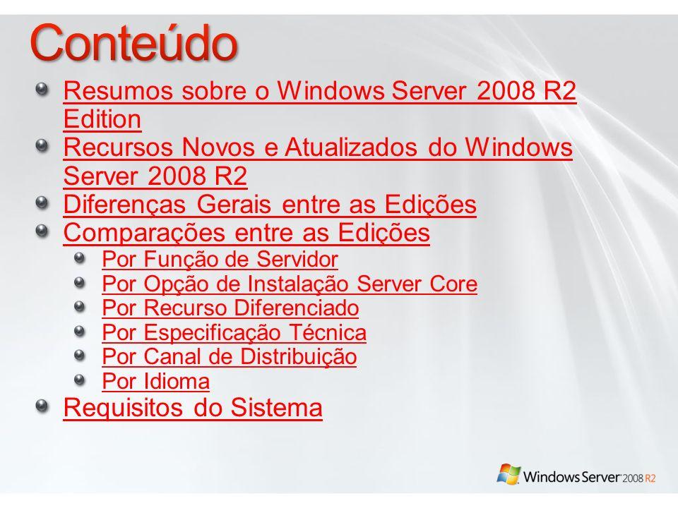 Resumos sobre o Windows Server 2008 R2 Edition Recursos Novos e Atualizados do Windows Server 2008 R2 Diferenças Gerais entre as Edições Comparações e