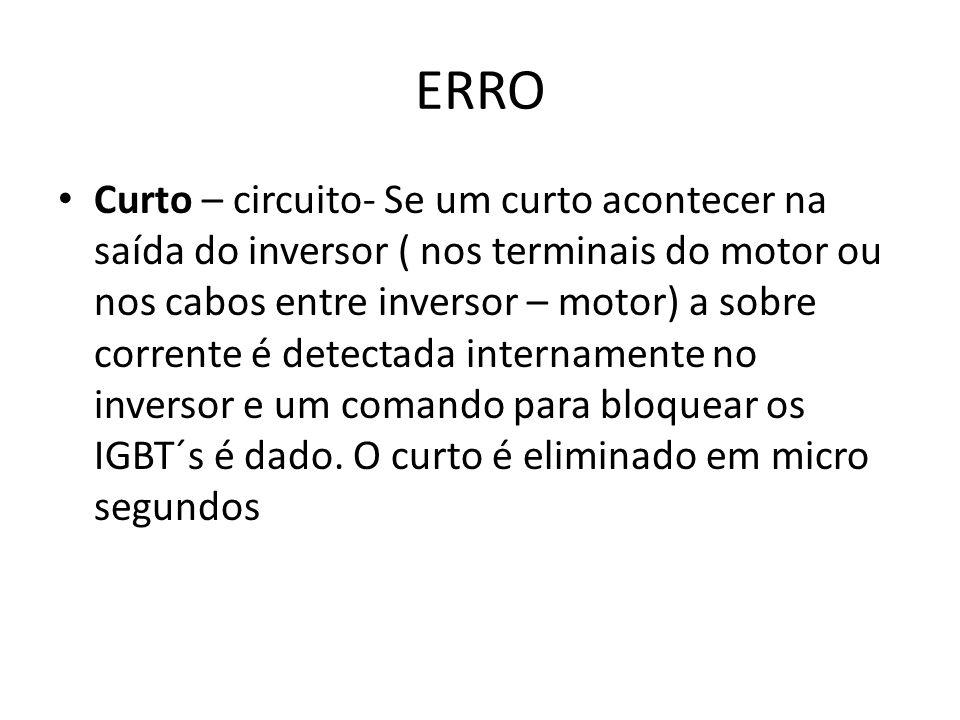 ERRO Curto – circuito- Se um curto acontecer na saída do inversor ( nos terminais do motor ou nos cabos entre inversor – motor) a sobre corrente é detectada internamente no inversor e um comando para bloquear os IGBT´s é dado.