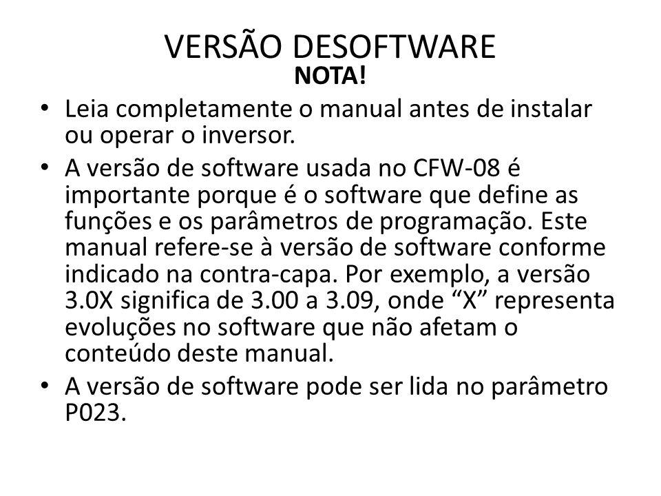 CFW-08 - REFERÊNCIA RÁPIDA DOS PARÂMETROS Software: V5.2X Aplicação: Modelo: N.o de série: Responsável: Data: / /.