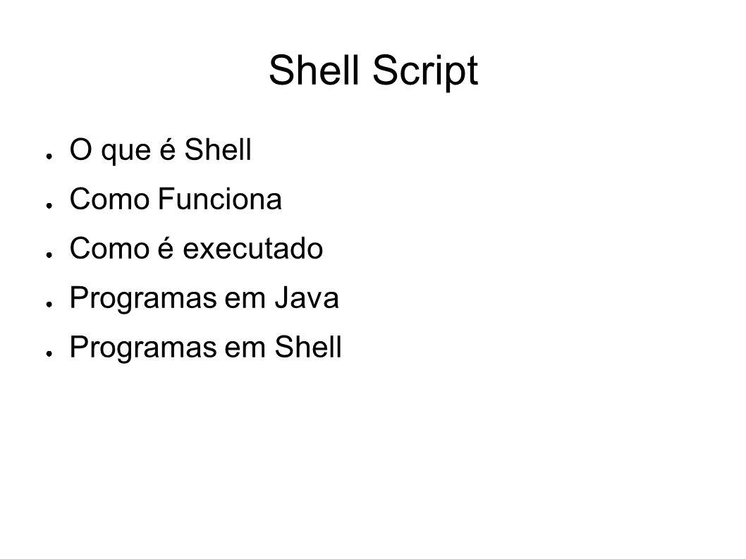 Shell Script O que é Shell Como Funciona Como é executado Programas em Java Programas em Shell