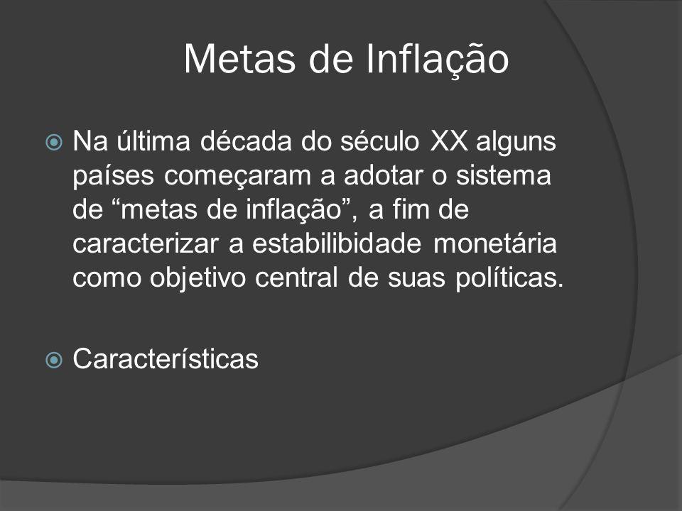 Metas de Inflação Na última década do século XX alguns países começaram a adotar o sistema de metas de inflação, a fim de caracterizar a estabilibidad