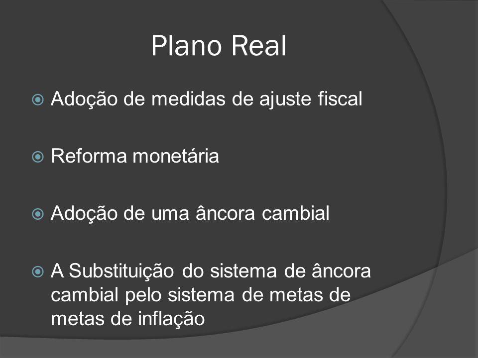 Plano Real Adoção de medidas de ajuste fiscal Reforma monetária Adoção de uma âncora cambial A Substituição do sistema de âncora cambial pelo sistema