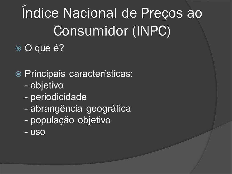 Índice Nacional de Preços ao Consumidor (INPC) O que é? Principais características: - objetivo - periodicidade - abrangência geográfica - população ob
