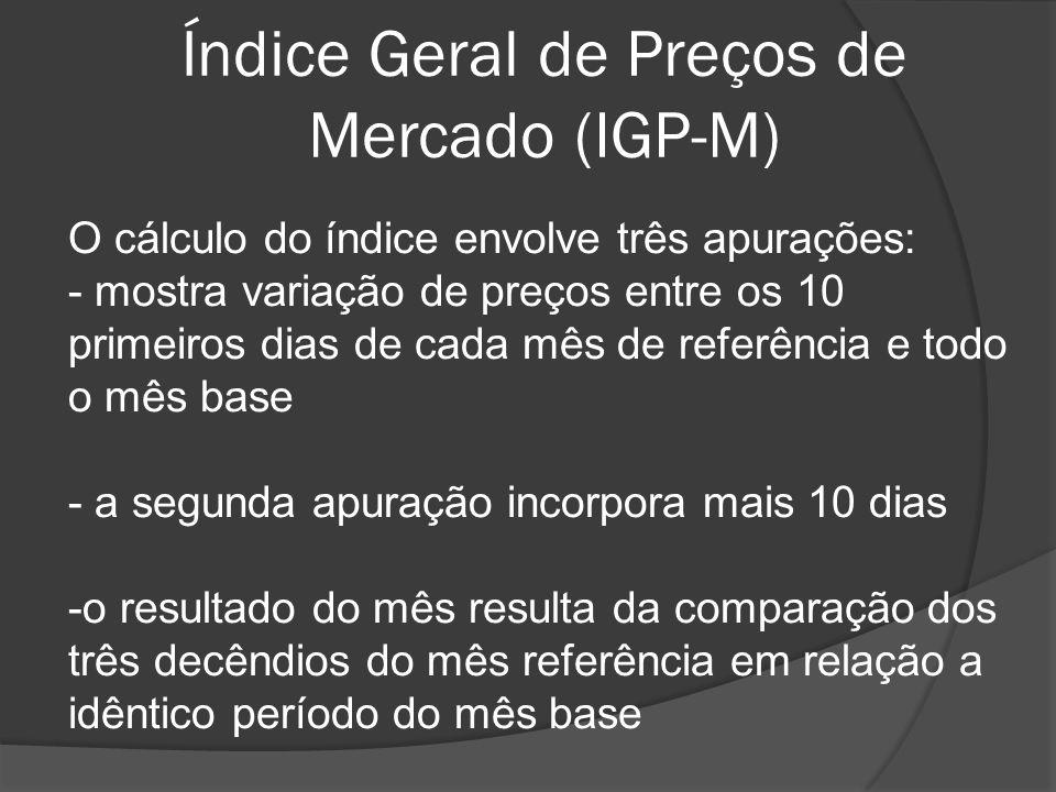 Índice Geral de Preços de Mercado (IGP-M) O cálculo do índice envolve três apurações: - mostra variação de preços entre os 10 primeiros dias de cada m