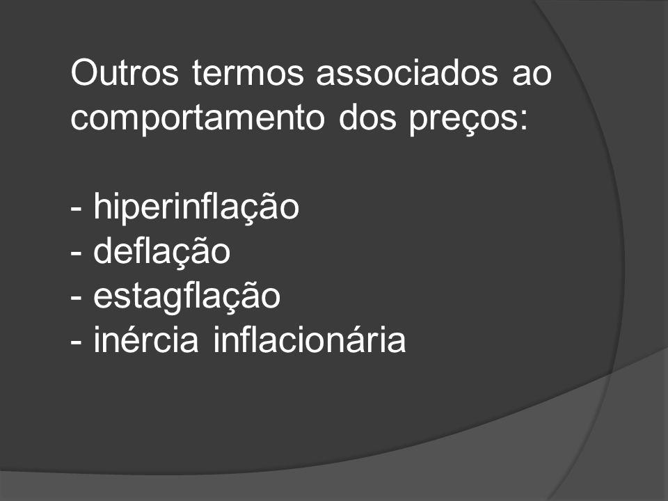Outros termos associados ao comportamento dos preços: - hiperinflação - deflação - estagflação - inércia inflacionária