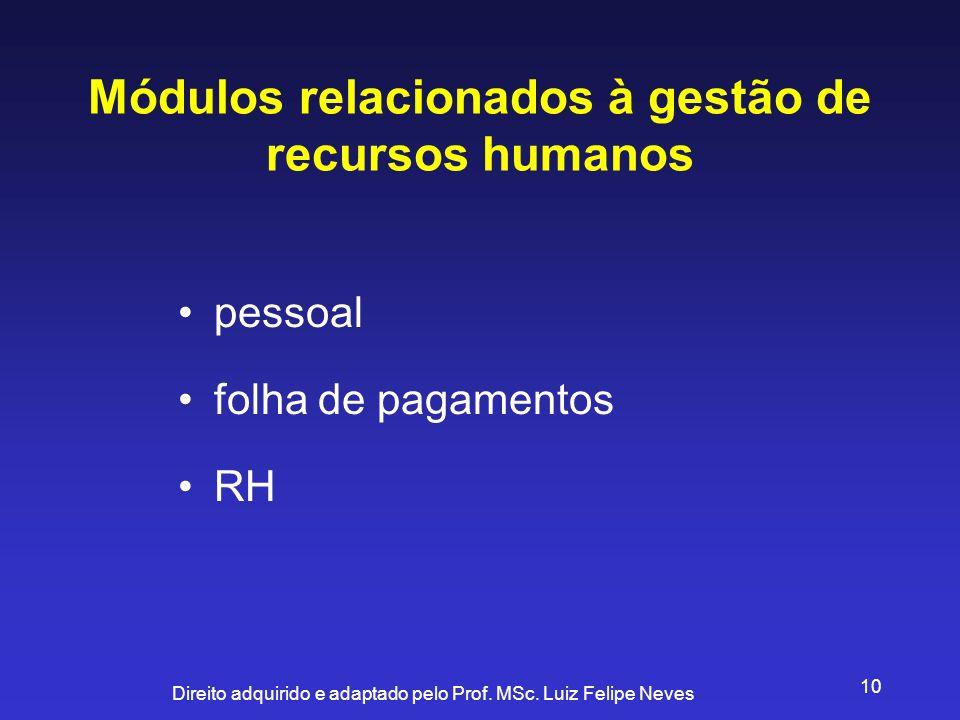 Direito adquirido e adaptado pelo Prof. MSc. Luiz Felipe Neves 10 Módulos relacionados à gestão de recursos humanos pessoal folha de pagamentos RH