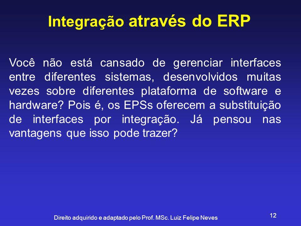 Direito adquirido e adaptado pelo Prof. MSc. Luiz Felipe Neves 12 Integração através do ERP Você não está cansado de gerenciar interfaces entre difere