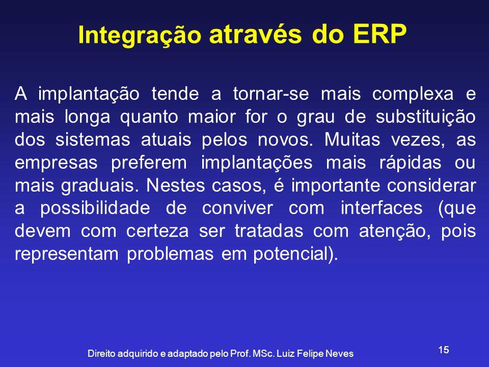 Direito adquirido e adaptado pelo Prof. MSc. Luiz Felipe Neves 15 Integração através do ERP A implantação tende a tornar-se mais complexa e mais longa