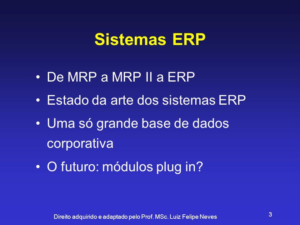 Direito adquirido e adaptado pelo Prof. MSc. Luiz Felipe Neves 3 Sistemas ERP De MRP a MRP II a ERP Estado da arte dos sistemas ERP Uma só grande base