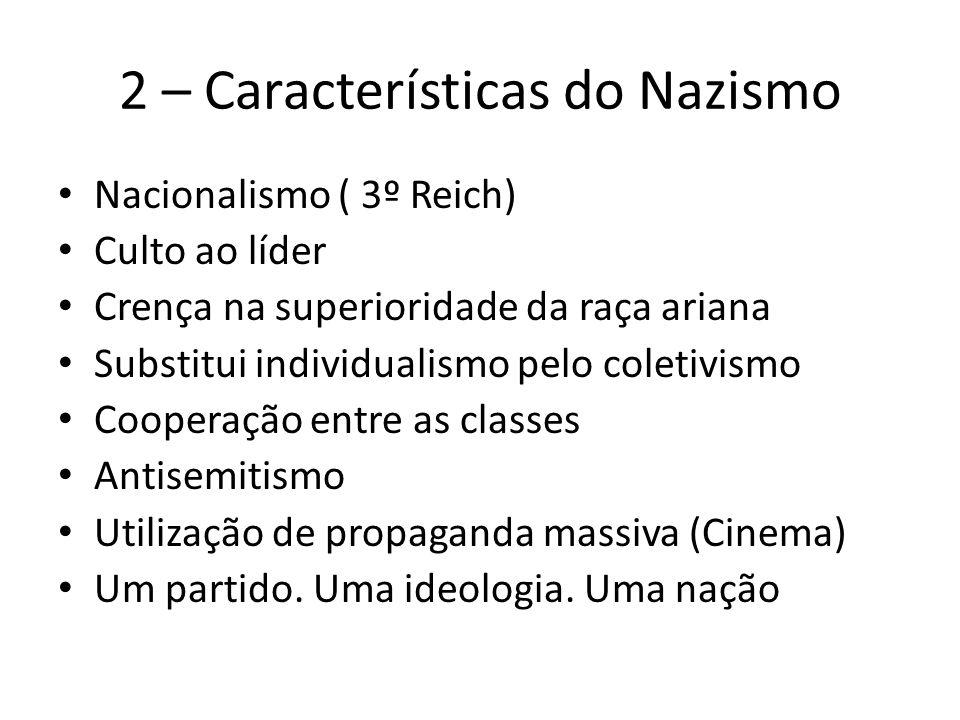 2 – Características do Nazismo Nacionalismo ( 3º Reich) Culto ao líder Crença na superioridade da raça ariana Substitui individualismo pelo coletivism
