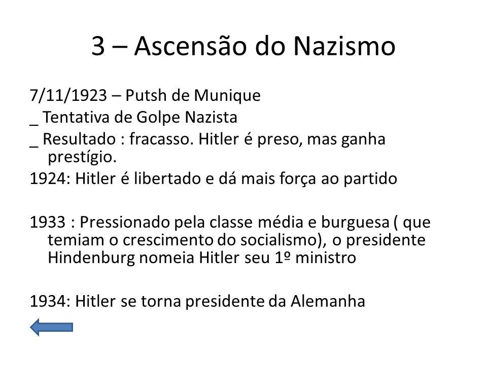 3 – Ascensão do Nazismo 7/11/1923 – Putsh de Munique _ Tentativa de Golpe Nazista _ Resultado : fracasso. Hitler é preso, mas ganha prestígio. 1924: H