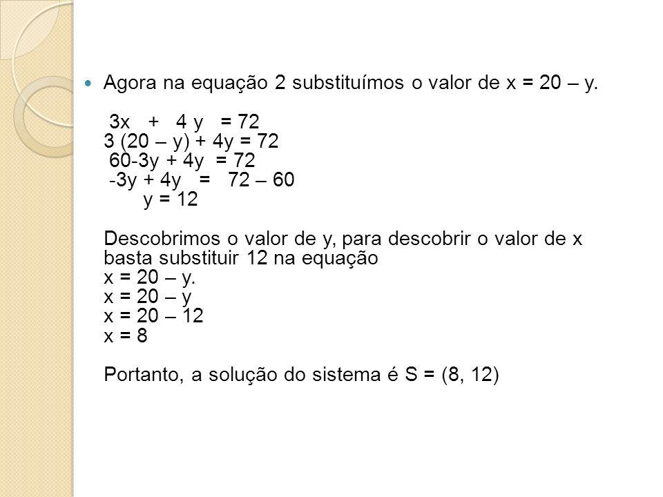 Agora na equação 2 substituímos o valor de x = 20 – y.