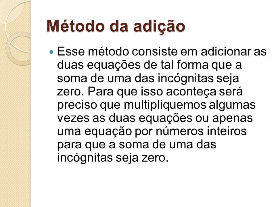 Método da adição Método da adição Esse método consiste em adicionar as duas equações de tal forma que a soma de uma das incógnitas seja zero.