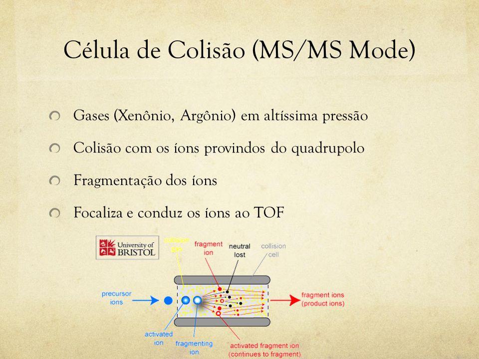 Célula de Colisão (MS/MS Mode) Gases (Xenônio, Argônio) em altíssima pressão Colisão com os íons provindos do quadrupolo Fragmentação dos íons Focaliz