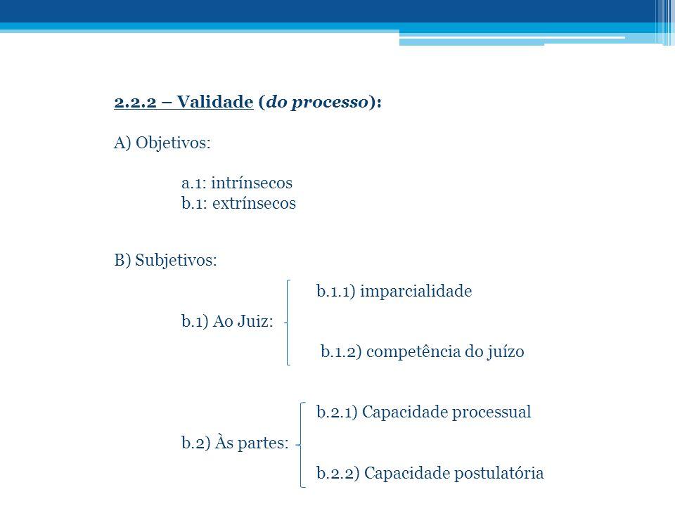 2.2.2 – Validade (do processo): A) Objetivos: a.1: intrínsecos b.1: extrínsecos B) Subjetivos: b.1.1) imparcialidade b.1) Ao Juiz: b.1.2) competência