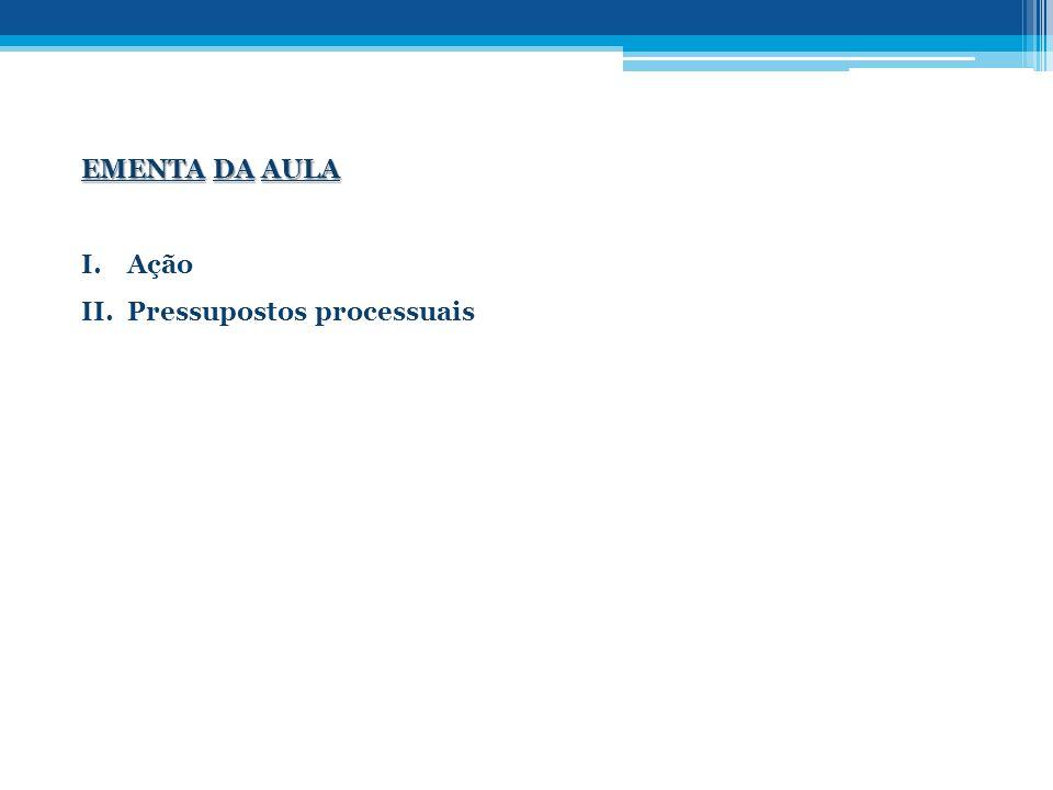 EMENTA DA AULA I.Ação II.Pressupostos processuais