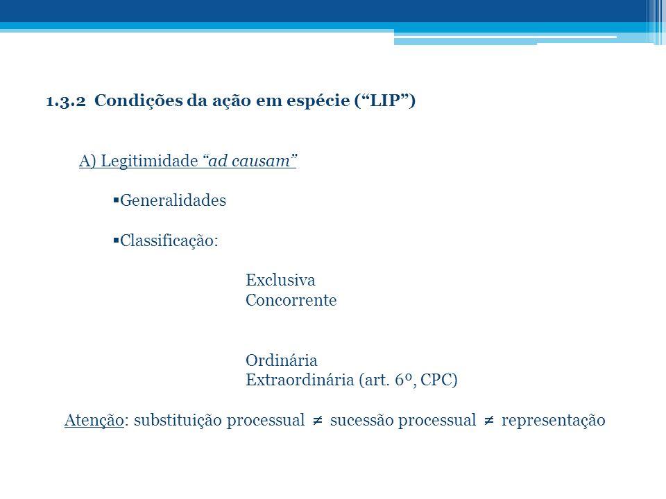 1.3.2 Condições da ação em espécie (LIP) A) Legitimidade ad causam Generalidades Classificação: Exclusiva Concorrente Ordinária Extraordinária (art. 6