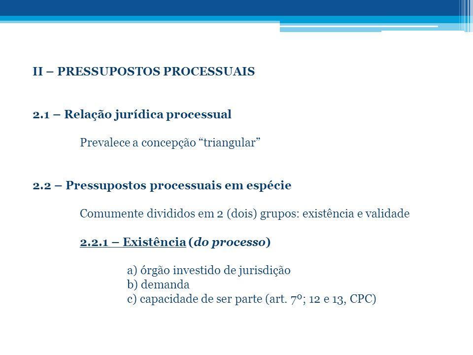 II – PRESSUPOSTOS PROCESSUAIS 2.1 – Relação jurídica processual Prevalece a concepção triangular 2.2 – Pressupostos processuais em espécie Comumente d