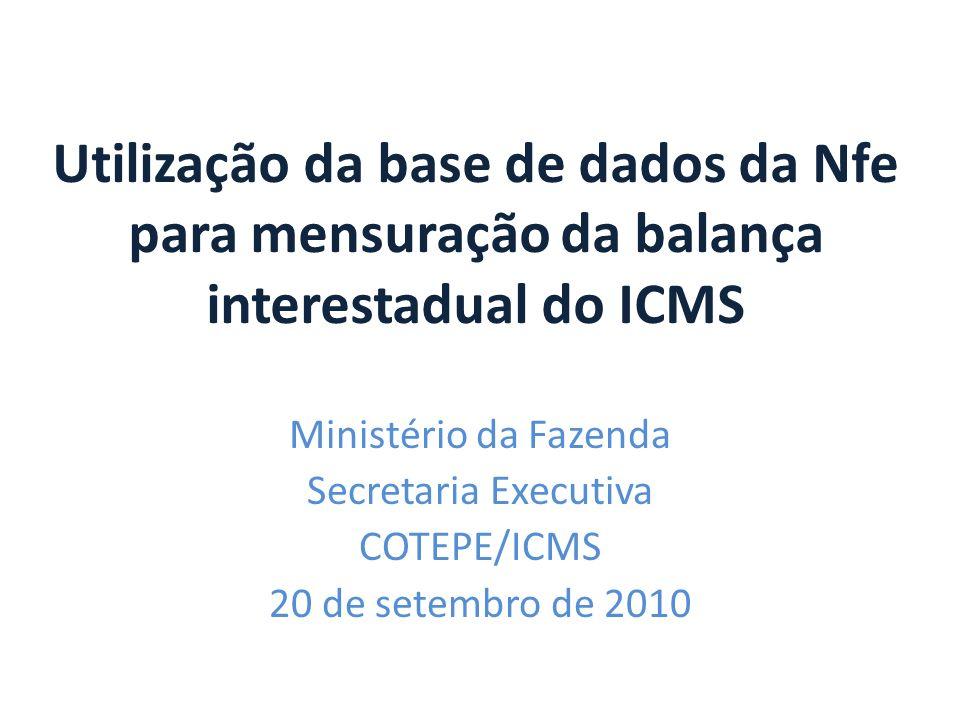 Utilização da base de dados da Nfe para mensuração da balança interestadual do ICMS Ministério da Fazenda Secretaria Executiva COTEPE/ICMS 20 de setem