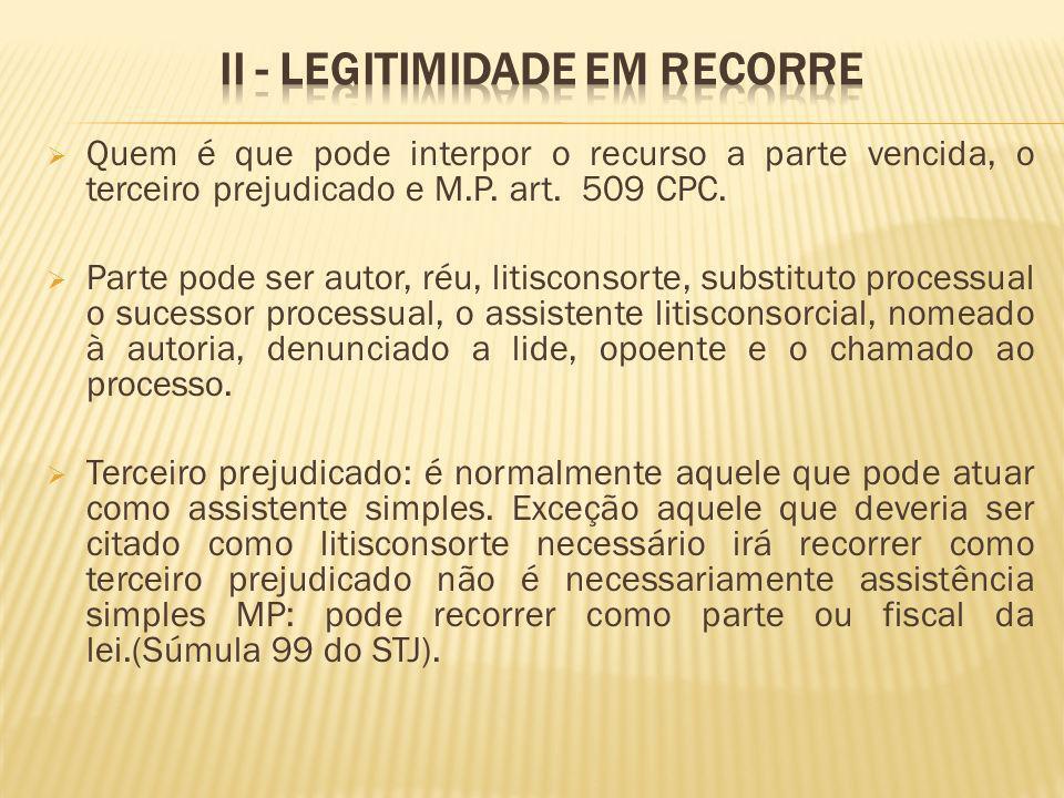 Quem é que pode interpor o recurso a parte vencida, o terceiro prejudicado e M.P. art. 509 CPC. Parte pode ser autor, réu, litisconsorte, substituto p