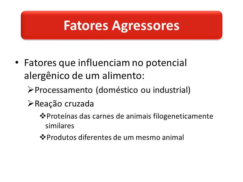 Fatores que influenciam no potencial alergênico de um alimento: Processamento (doméstico ou industrial) Reação cruzada Proteínas das carnes de animais filogeneticamente similares Produtos diferentes de um mesmo animal Fatores Agressores