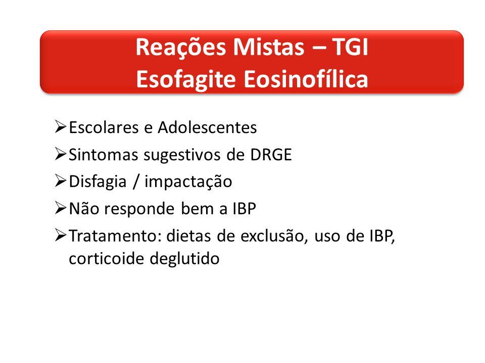 Escolares e Adolescentes Sintomas sugestivos de DRGE Disfagia / impactação Não responde bem a IBP Tratamento: dietas de exclusão, uso de IBP, corticoide deglutido Reações Mistas – TGI Esofagite Eosinofílica