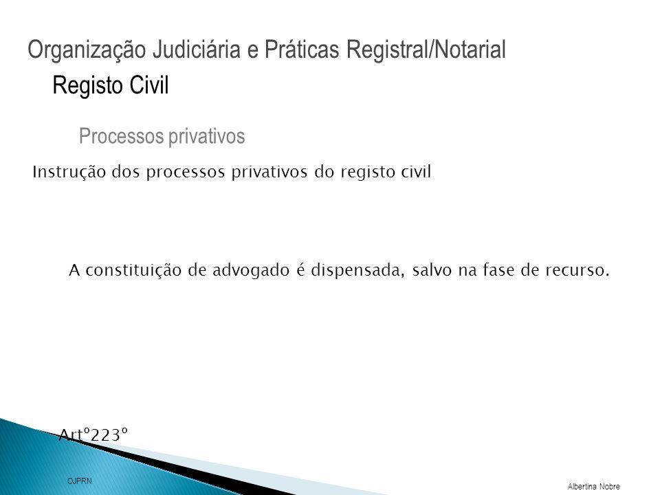 Organização Judiciária e Práticas Registral/Notarial Albertina Nobre OJPRN Registo Civil Instrução dos processos privativos do registo civil Processos privativos Artº223º A constituição de advogado é dispensada, salvo na fase de recurso.