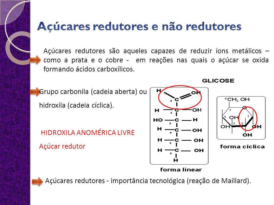 Açúcares redutores são aqueles capazes de reduzir íons metálicos – como a prata e o cobre - em reações nas quais o açúcar se oxida formando ácidos carboxílicos.