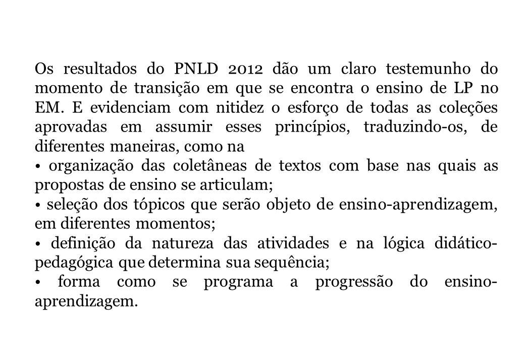 Os resultados do PNLD 2012 dão um claro testemunho do momento de transição em que se encontra o ensino de LP no EM. E evidenciam com nitidez o esforço