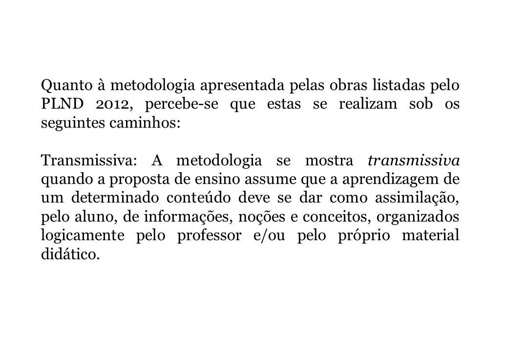Quanto à metodologia apresentada pelas obras listadas pelo PLND 2012, percebe-se que estas se realizam sob os seguintes caminhos: Transmissiva: A meto