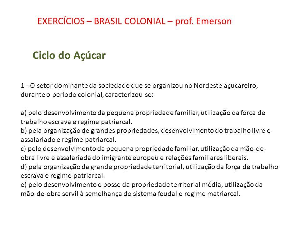 EXERCÍCIOS – BRASIL COLONIAL – prof. Emerson Ciclo do Açúcar 1 - O setor dominante da sociedade que se organizou no Nordeste açucareiro, durante o per