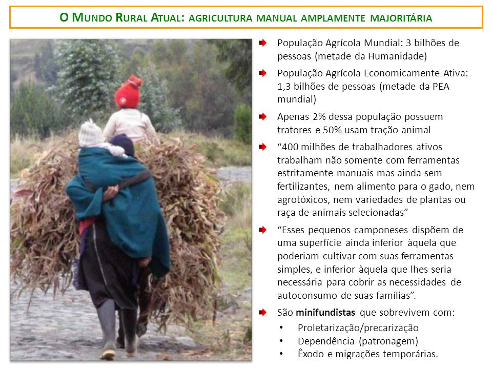 O M UNDO R URAL A TUAL : AGRICULTURA MANUAL AMPLAMENTE MAJORITÁRIA População Agrícola Mundial: 3 bilhões de pessoas (metade da Humanidade) População A