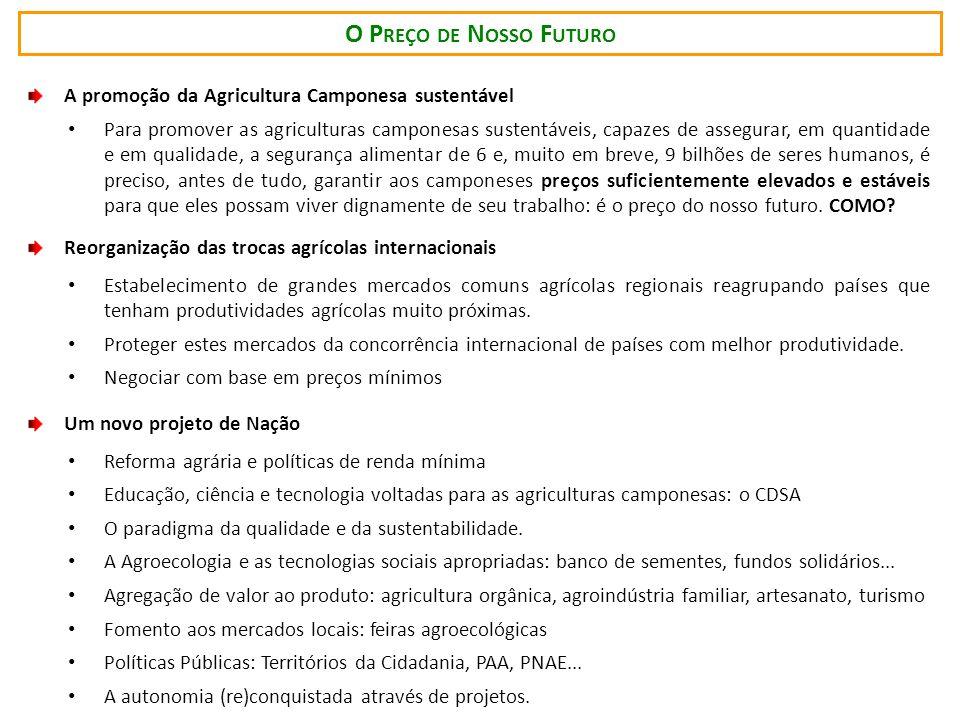 O P REÇO DE N OSSO F UTURO A promoção da Agricultura Camponesa sustentável Para promover as agriculturas camponesas sustentáveis, capazes de assegurar